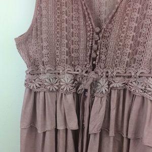 POL Tops - POL romantic feminine light pink ruffle&lace top-L